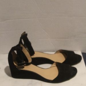 J Crew Womens Size 6 Black Suede Open Toe Wedges